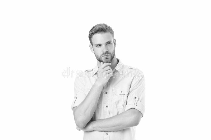 Think to solve. Man with bristle serious face thinking white background. Guy thoughtful touches his chin. Thoughtful stock photos