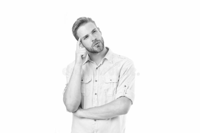 Think to solve. Man with bristle serious face thinking white background. Thoughtful mood concept. Man with beard. Thinking. Think about solution. Close to stock photos