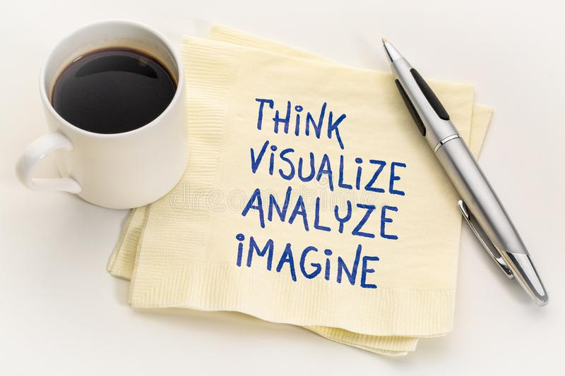Think, visualize, analyze and imagine. Inspirational handwriting on a napkin with a cup of coffee royalty free stock image