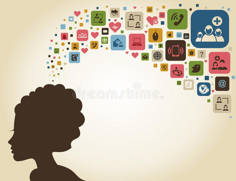 Think woman2. The woman thinks of communication. A vector illustration vector illustration