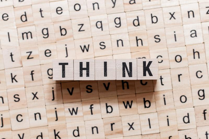 Think word concept on cubes royalty free stock photos