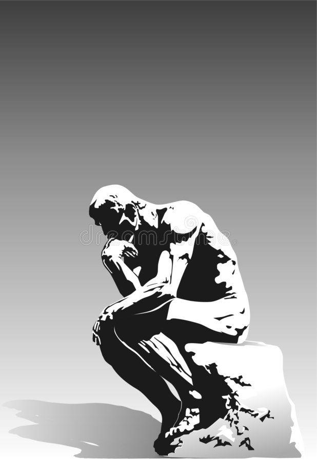 The Thinker. High contrast image of the famous sculpture The Thinker. Black and white on a gray gradient background