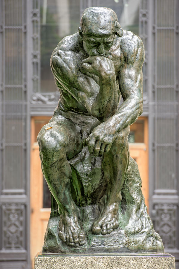 Thinker copper statue at columbia university philosophy building. New York columbia university philosophy building exterior royalty free stock image