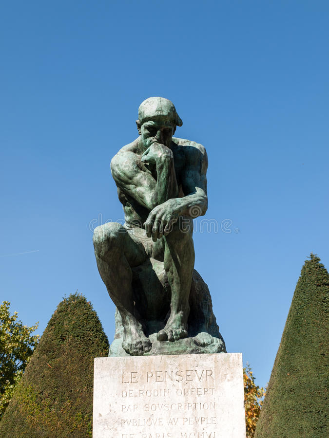 The Thinker in Rodin Museum in Paris. royalty free stock photography
