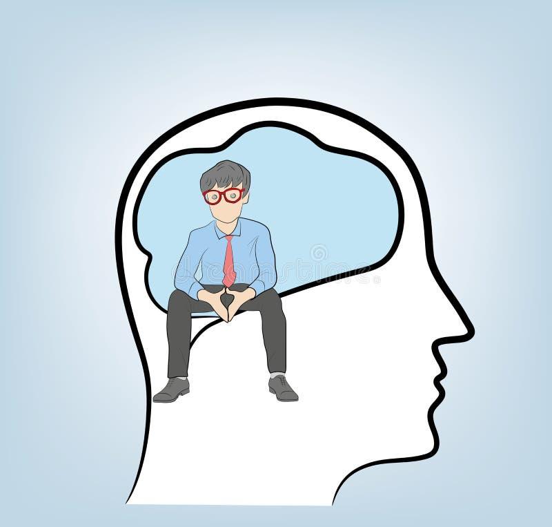 thinker Um homem de negócios senta-se na cabeça Ilustração do vetor ilustração do vetor