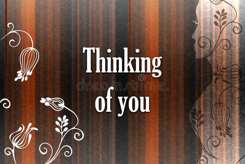 Thinkibg di voi - carta Fondo astratto di pendenza delle linee multicolori illustrazione di stock