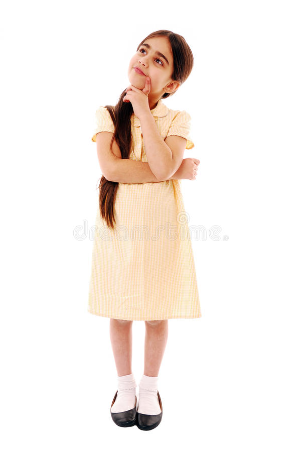 Thinking. Schoolgirl thinking isolated on white stock photos