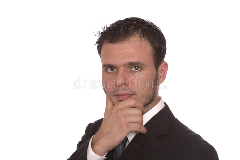 Thinking. Young businessman with hand on chin thinking, isolated stock photos