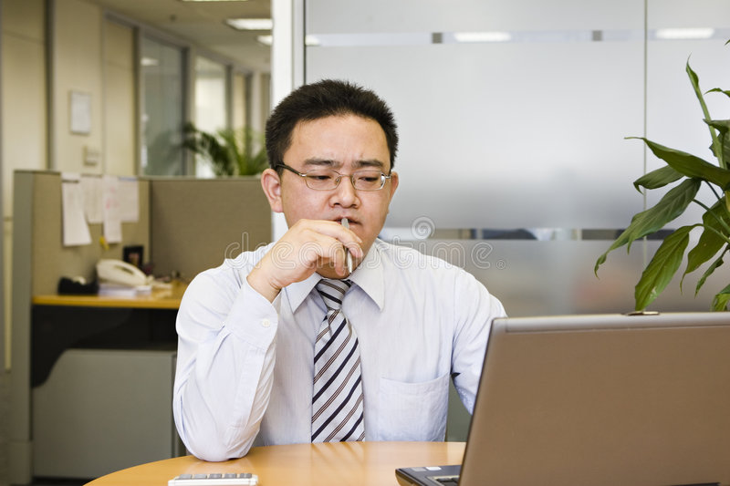 Download Thinking stock photo. Image of laptop, chewing, collar - 8163098