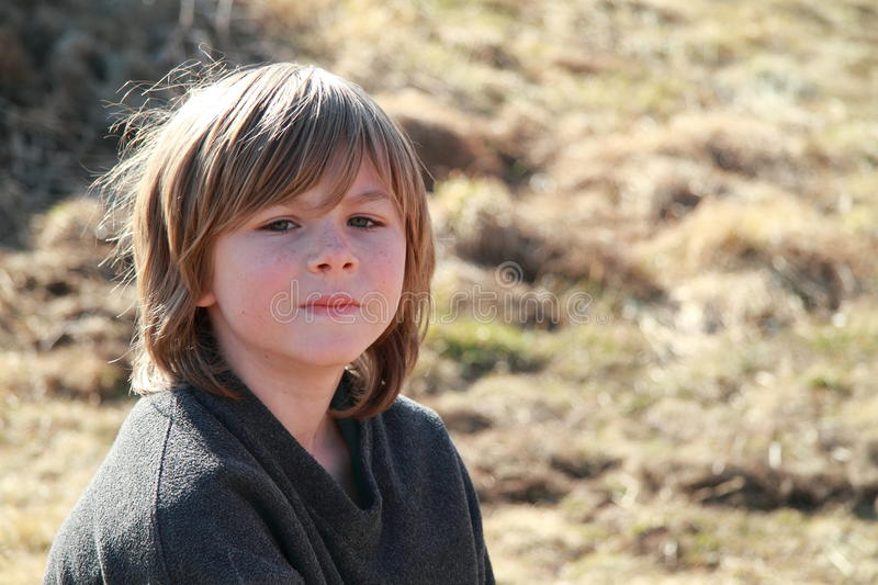 Download Thinking boy stock image. Image of portrait, grass, child - 23787775