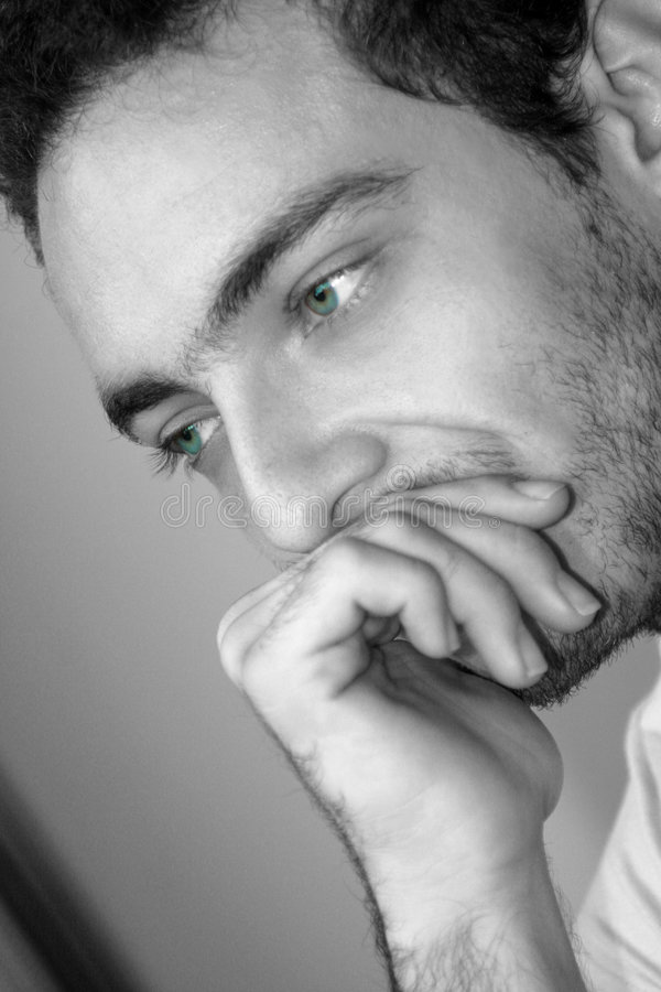 Download Thinking Boy / Green Eyes stock photo. Image of hand, delight - 3703224