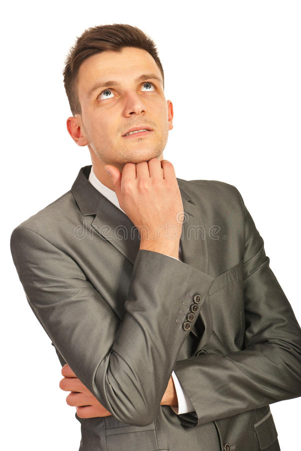 Thinking Business Man Looking Up Royalty Free Stock Photo