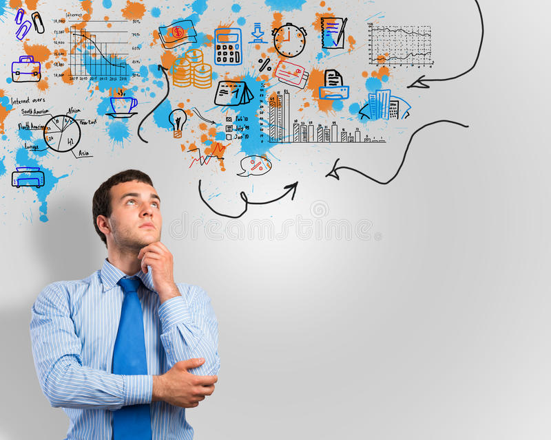 Thinking business man stock photos