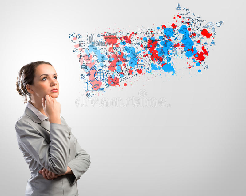 Thinking business woman royalty free stock images