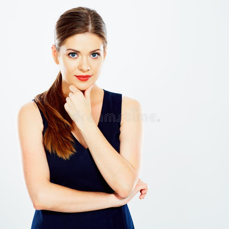 Business woman portrait. Thinking Business woman portrait in black dress isolated white background portrait stock images