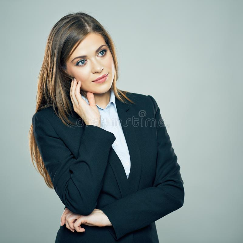 Thinking Business Woman portrait. Young employee royalty free stock photography