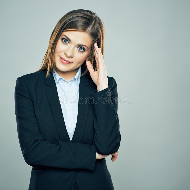Thinking Business Woman portrait. Young employee royalty free stock image