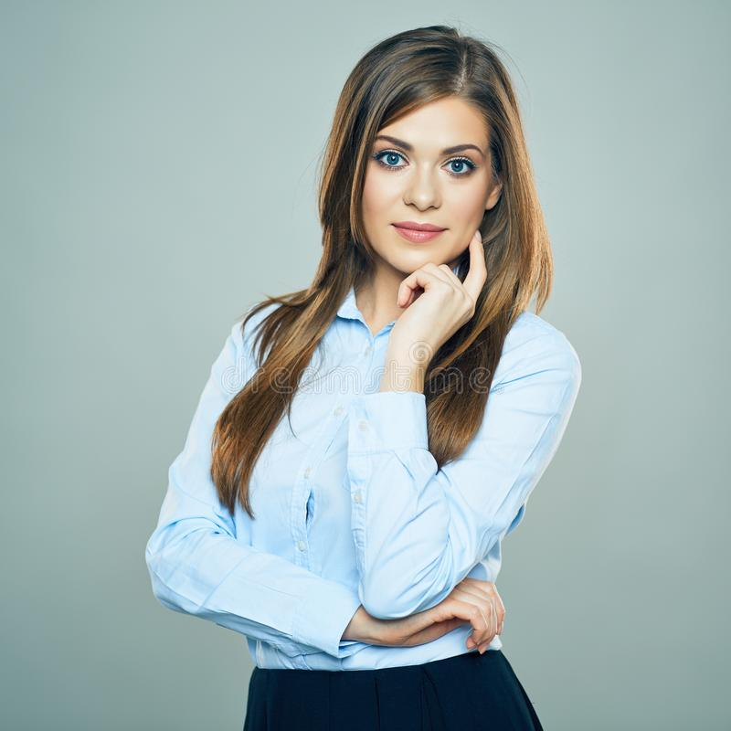 Thinking Business Woman portrait. Young employee stock images