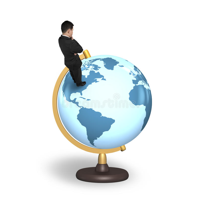 Thinking businessman standing on terrestrial globe stock images
