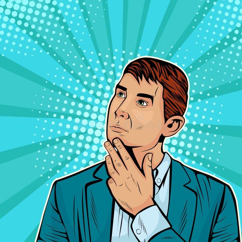 Thinking businessman. Vector illustration in pop art retro comic style. Thinking businessman. Party invitation. Man from comics. Vector illustration in pop art vector illustration