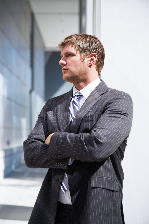 Thinking caucasian businessman royalty free stock images