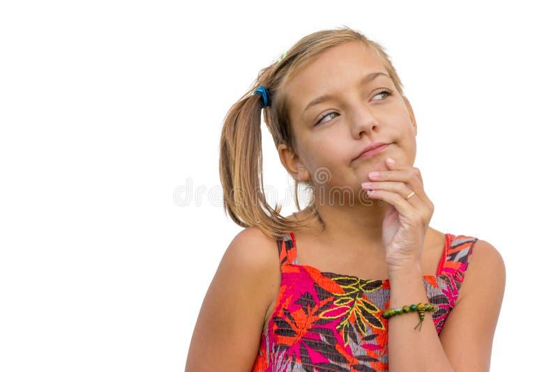 Thinking child girl stock photography