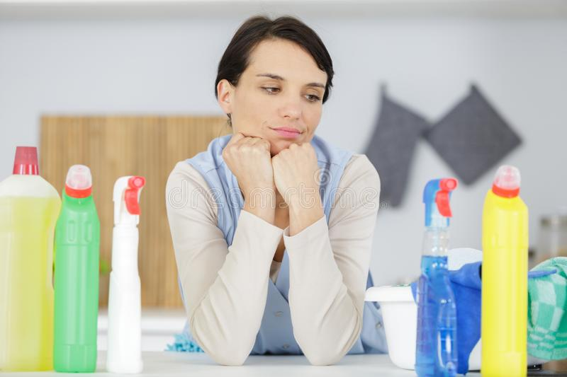 Thinking clean woman looking away stock photos