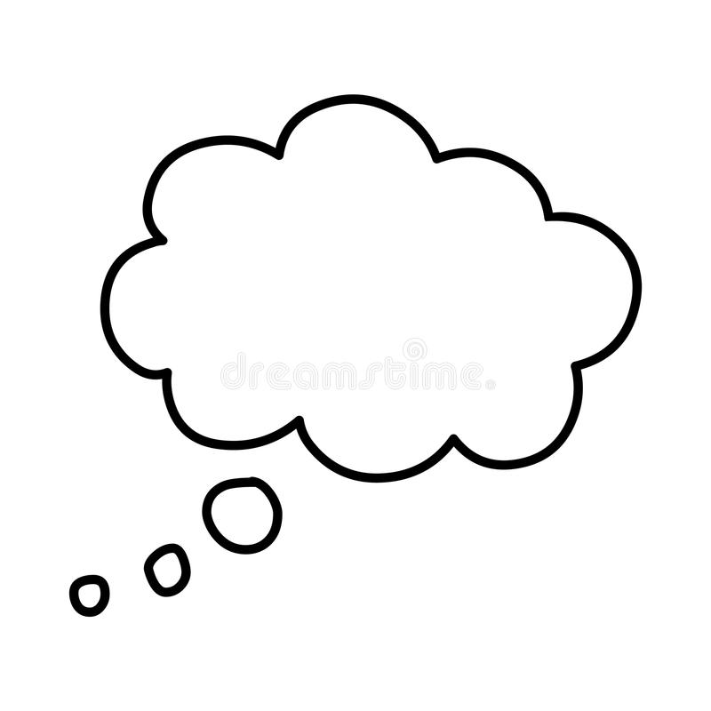 Thinking cloud,Thought cloud.Vector line art of thought cloud. royalty free illustration