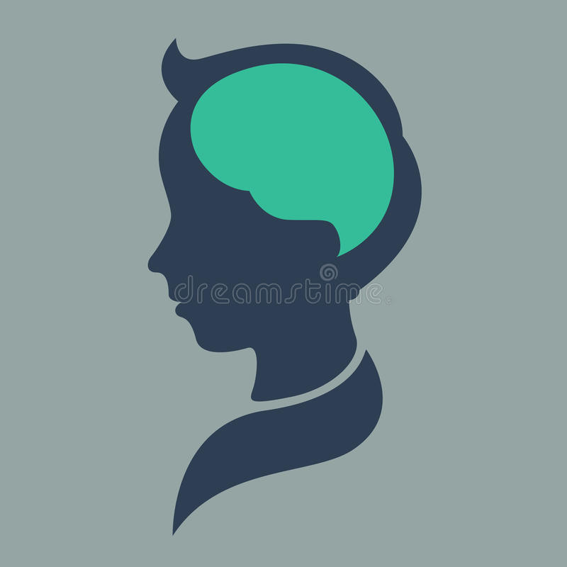 Thinking Concept, silhouette child head, abstract brain. Vector royalty free illustration