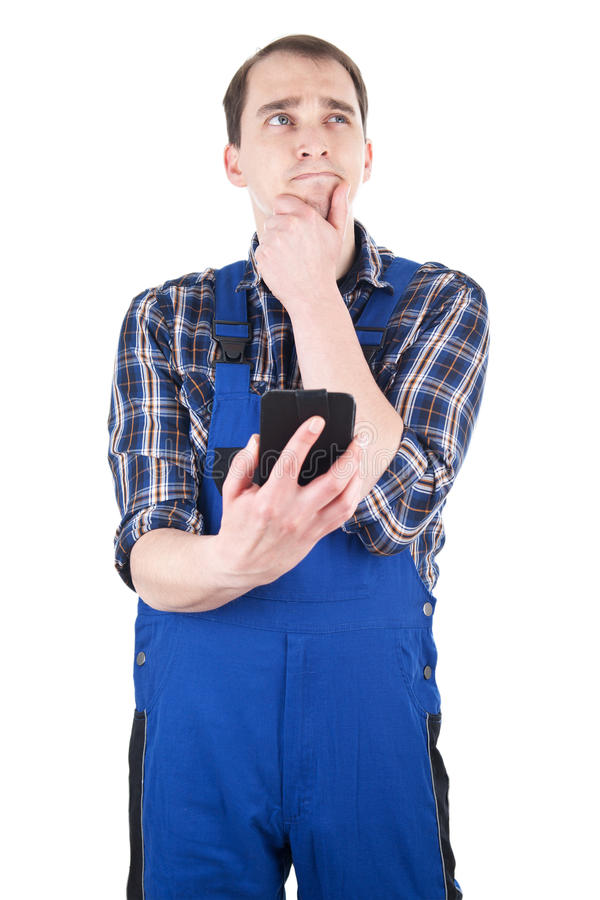 Download Thinking Craftsman With Smart Phone Stock Image - Image: 30872735