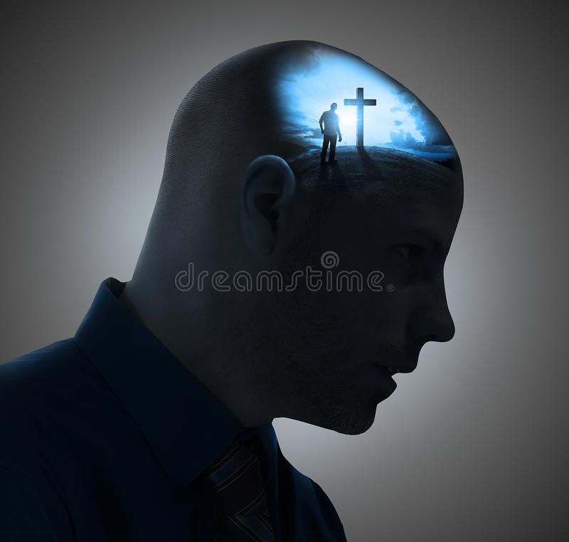 Thinking about the cross stock photo