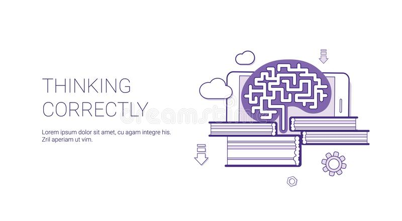 Thinking Currently Brainstorming Business Web Banner Template With Copy Space. Thin Line Vector Illustration stock illustration
