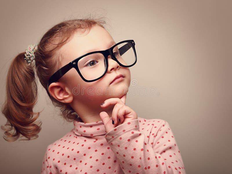 thinking cute kid girl looking instagram effect stock
