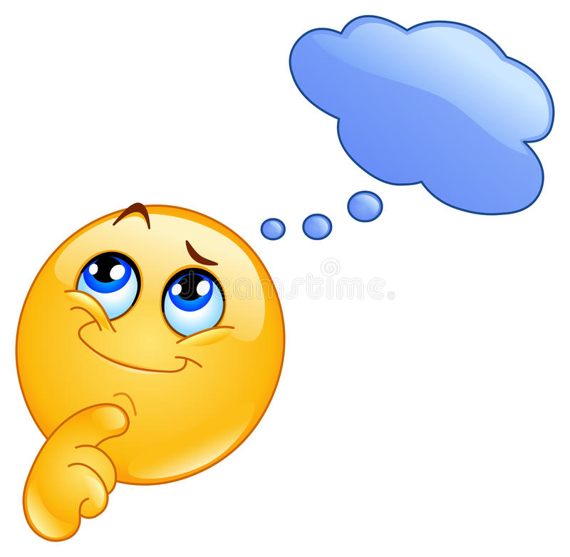 Thinking emoticon. Design of a Cute emoticon thinking