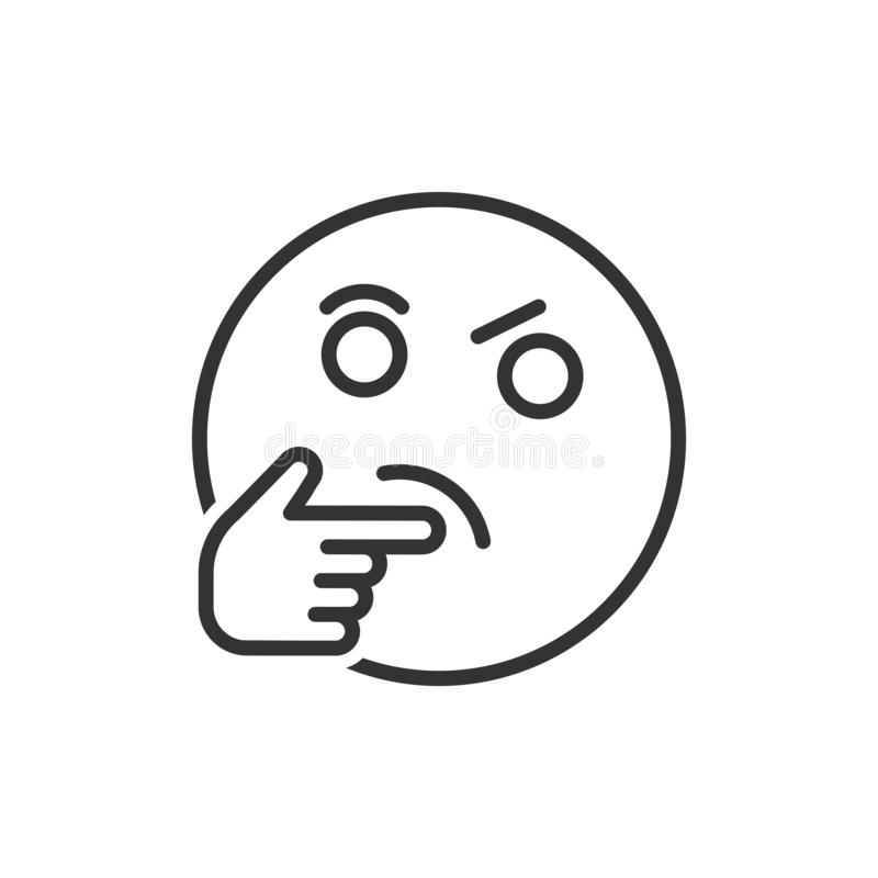 Thinking face icon in flat style. Smile emoticon vector illustration on white isolated background. Character business concept vector illustration
