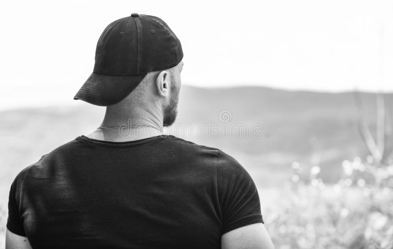 Thinking about future. man looking forward. achive success. future goals. thinking of opportunities. muscular man. Outdoor. day dreaming. search for inspiration royalty free stock photography