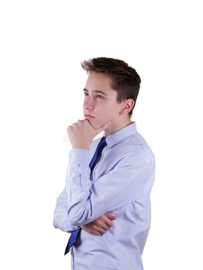 Thinking guy. Isolated on white. Thinking guy. Isolated on white royalty free stock photo