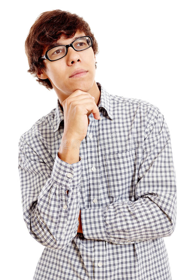 Thinking guy. Young hispanic man wearing blue checkered shirt and black glasses standing with hand on his chin and thinking isolated on white background royalty free stock photo