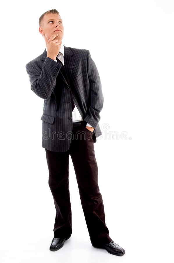 Thinking handsome executive looking upside stock images