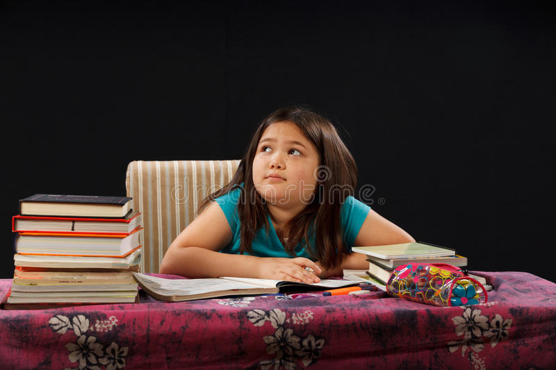 Download Thinking about Homework stock photo. Image of home, children - 21118180