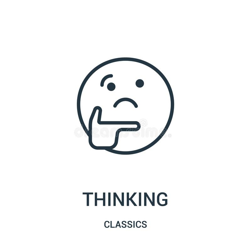 thinking icon vector from classics collection. Thin line thinking outline icon vector illustration. Linear symbol stock illustration