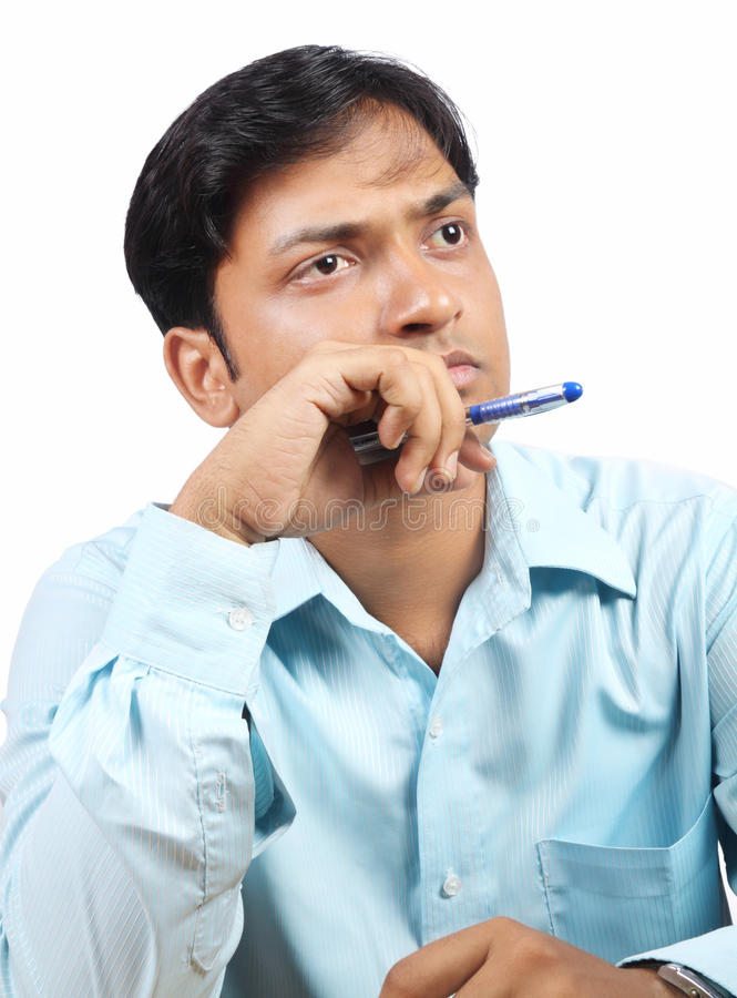Thinking Indian Business man royalty free stock photo
