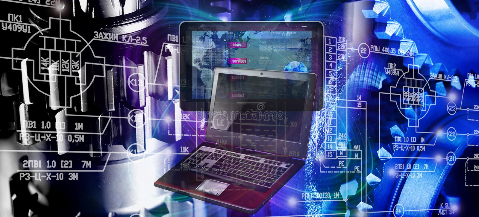 Thinking industrial computer technology stock photos