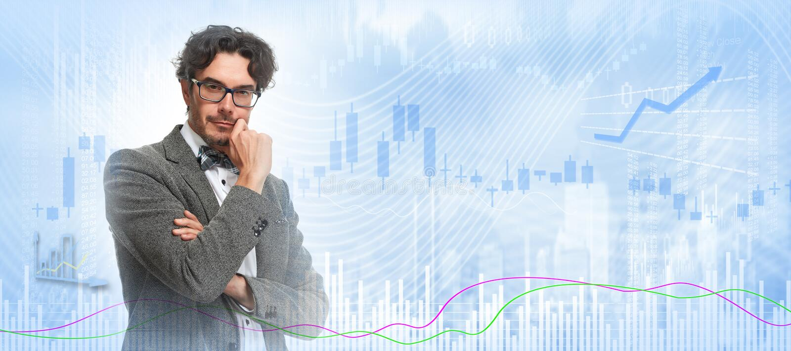 Thinking investor man. royalty free stock photo
