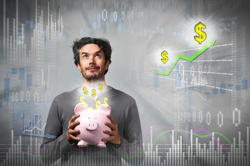 Thinking investor man. royalty free stock image