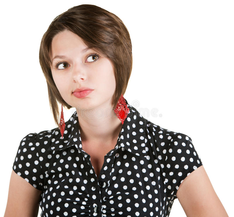 Free Thinking Lady In Polka Dots Stock Image - 30305851