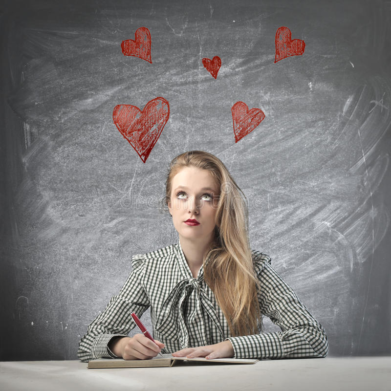 Download Thinking of Love stock photo. Image of book, draw, romantic - 26802262