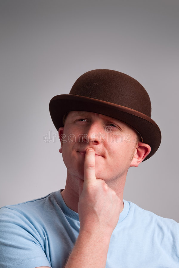 Download Thinking Man In Bowler Hat Stock Photography - Image: 8579242
