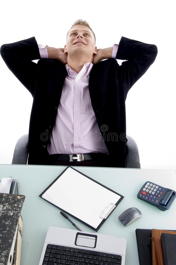 Thinking man looking up stock photography