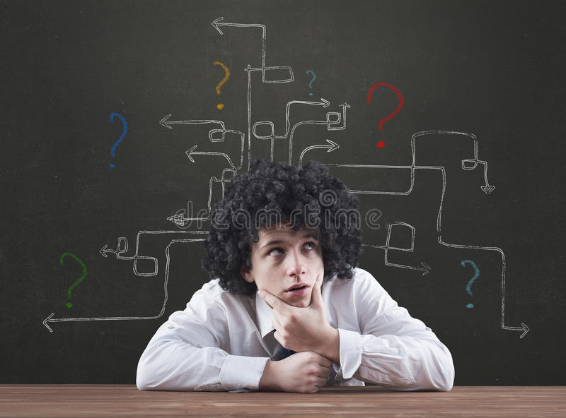 Thinking man with question mark royalty free stock photography
